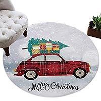 カーペット 円形 ラグマット クリスマス プレゼント 車 クリスマスツリー 雪ぶり 祝い じゅうたん シャギーラグ 絨毯 ふわふわ マイクロファイバー 防音 滑り止め付 床暖房 ホットカーペット対応 おしゃれ 直径 100cm