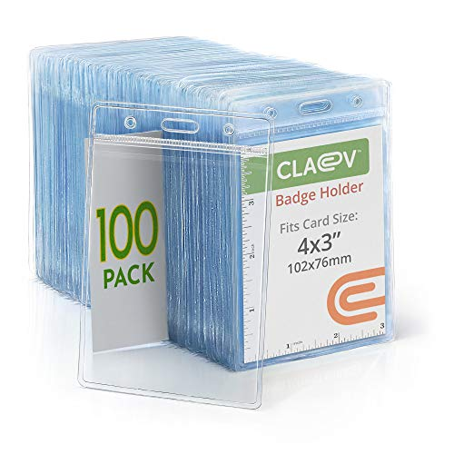 Claev Vertical Large (L) ID Badge Holders (Clear, 4x3 Inch, 100 Pack), Clear Easy Open Plastic Name Card Holders for Conferences, Conventions, Offices & Schools