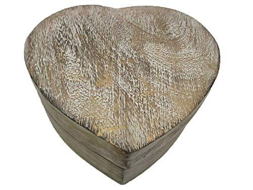 Geschenkhaus-Tom Holztruhe mit Herz Schatztruhe Schatzkiste Truhe Holztruhe Holzbox Box Massivholz im Shabby Chic Look (IHG weiß Groß)