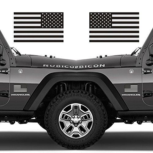 Ghosted Subdued American Flag car Decal, Silver with ghosted Black Print, 1.8' X 3', Pair, Hard Hat, Lunch Box, Vinyl Decal car Sticker