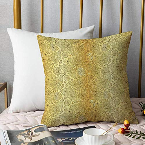 Soft Decorative Throw Pillow Cover Cushion Covers,Gold Mandala,Flourish Pattern with Paisley Botanical Garden Theme Curvy PersiaPillowcase Pillow Shams, for Sofa Bedroom Car Chair 18x18 Inch/45x45 cm