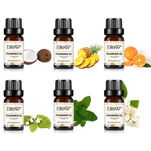 Elite99 Aceites de Fragancia, Aceites Esenciales para Humidificadores, Aceites de Aromaterapia 10ML de 6 Aromas - Menta, Coco, Agrios, Jazmín, Almizcle blanco, Piña