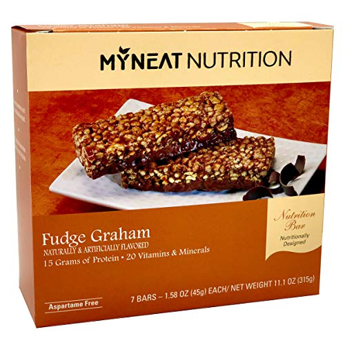 Neat Nutrition Meal Replacement Bar - Fudge Graham Flavor Pre Workout Protein Bars - High Protein, Low Carb, Low Fat, 160 Calories - Healthy Snack For Women and Men (7 Bars)