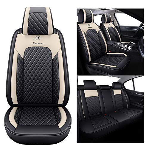 Aierxuan 5 Pcs Seat Covers for Cars Full Set Leather Waterproof Seat Cushion Universal Fit for Hyundai Civic Corolla 4Runner Auto SUV Truck(Full Set, Black-Beige)