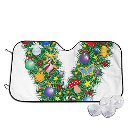 Windshield Sunshade for Car,Ornament Christmas Tree Design Capitalized V Festive Elements Bells Candies Print,Front Window Sun Shade Visor Shield Cover,S