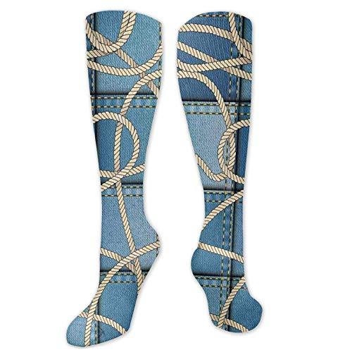 Calcetines de compresión medianos de pantorrilla, bandera de Tierra del Fuego Argentina en Grunge Antiguo Histórico