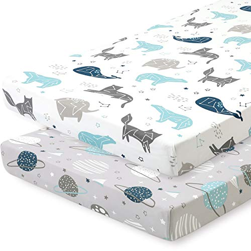 Pack n Play Stretchy Fitted Pack n Play Playard Sheet Set-Brolex 2 Pack Portable Mini Crib Sheets,Convertible Playard Mattress Cover,Ultra Soft Material,Space Planet