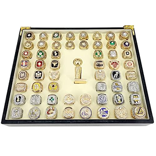 WOSHUAI NBA Championship Ring Set, 1967-2020 RéPlica Anillo Campeonato De Baloncesto, EdicióN Limitada Premium Series 3D Rhinestone Bling Rings Caja Madera Set 50pcs