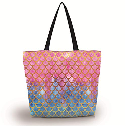 Baocool Gym Bag Shopping Tote Bags Shoulder Bag,Women Men Boys Girls Travel Beach Grocery Shoulder Bag with Zipper,Reusable Gym Picnic Work Daily Use Tote Bag (Mermaid Scale)