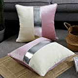 Faromily Pink Velvet Accent Pillow Covers 20x20 Silver Faux Leather Striped Soft Solid Velvet Square Luxury Modern Plush Cushion Cases Set of 2 for Couch Sofa