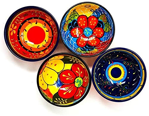 Hand Painted Single Large Assorted Bright Colourful Ceramic Spanish Tapas Serving Dipping Snack Bowl 12cm Divine Deli/Only 1 Bowl Will be Sent in This Design