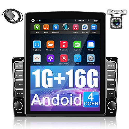 2 din Android car Stereo 9.7 inch 2.5D HD Touch Screen Car Radio with Bluetooth FM, Support GPS Navigation, WiFi Connect, Mirror Link for Android/iOS, Dual USB Input + 12 LED Backup Camera
