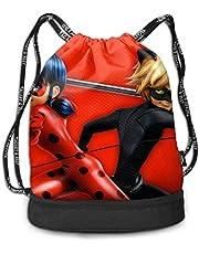 shenguang Mira-culo-us La-dy-Bug Trekkoord Zakken Multifunctionele Bundel Rugzak Grote Capaciteit Lichtgewicht Eenvoudige Draagbare Grappige Handtas, voor Vrouwen Kids School Gym Travel (Polyester)