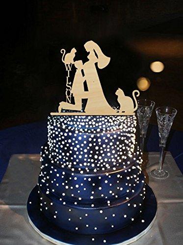 Romántica boda figuras de novio Kiss embarazadas novia con gatos personalizado apellido rústico boda para tartas
