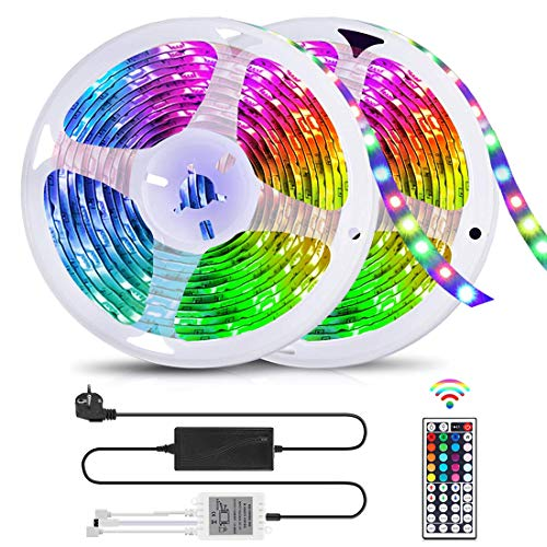 LED Strip 10m, RGB LED Streifen Farbwechsel Lichterkette mit Fernbedienung, Hell 5050 LED Lichtband Flexible LED Bänder für Zuhause, Schlafzimmer, Partydekoration, Wasserdicht IP65 [Energieklasse A+]