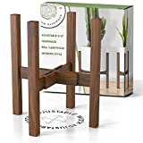 Mid Century Plant Stand - Adjustable Modern Indoor Plant Holder - Brown Planter Fits Medium & Large Pots Sizes 8 9 10 11 12 inches (Not Included) (Adjustable Width: 8-12' x 16' Tall, Dark Brown)
