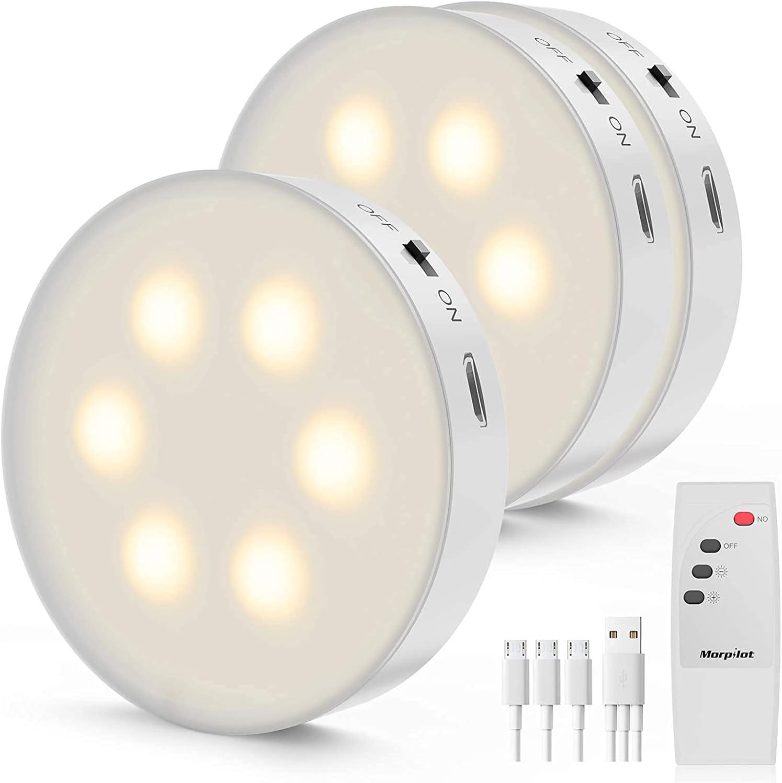 morpilot Luz Nocturna con Control Remoto, 3 Pcs LED Luz de Noche con Recargable USB, Luces Armario LED, Regulable Lámpara Inalámbrica para Cocina, Luces de Armarios para Cocina, Vitrina, Tocador