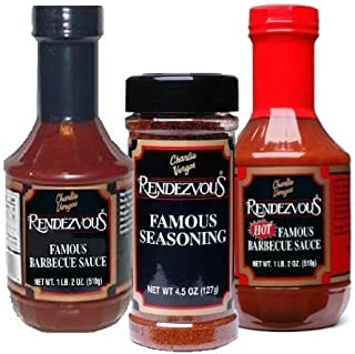Charlie Vergos Rendezvous (Memphis) BBQ Sampler Bundle -- Hot BBQ Sauce, Original BBQ Sauce & Seasoning Rub by Rendezvous