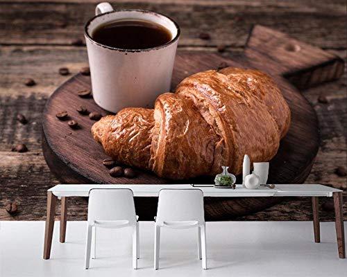 TDYNJJ Mural Vlies Fototapete - Kaffeetasse Mit Croissants Auf Vintage Holzbrett - Fototapete Kinderzimmer - Vliestapete Kinder - Vlies-Tapete Kinderzimmer Mädchen - Geschenk Dekoration