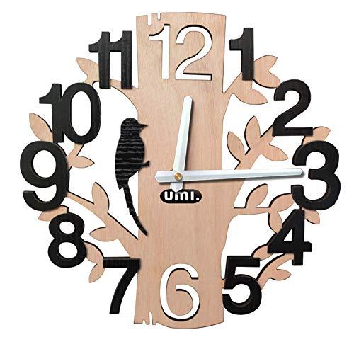 UMI. Essentials Rustikale Holzwanduhr ohne Tickgeräusche mit Vogel und Baum Motiv Durchmesser 30 cm, ideal für Wohnzimmer Küche Büro oder Schlafzimmer/Schwarze Ziffern