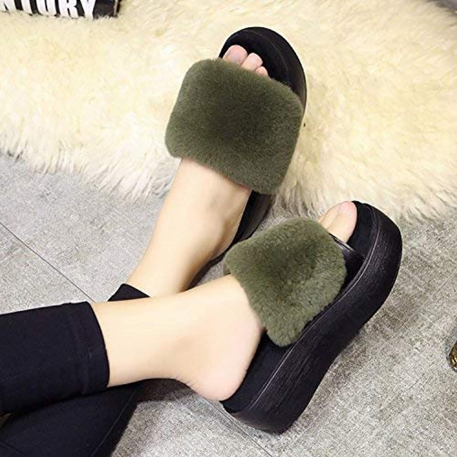 Lady Slippers Ladies Casual Slippers Indoors to Keep Warm in Autumn and Winter Plush Slippers Soild color Personality Green for Women 36