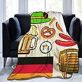 Coperta da tiro,Oktoberfest simbolo birra salsiccia di frumento e salatini colorati disposizione bavarese,Morbida e confortevole coperta in peluche per divano letto da viaggio soffice coperta 60'X80'
