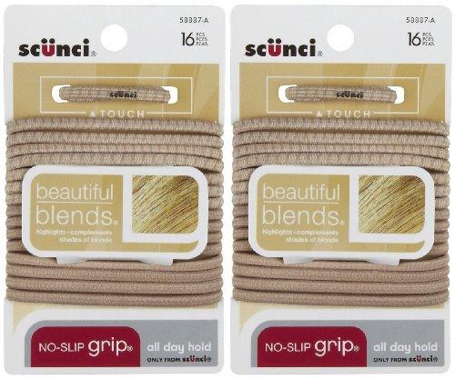 Scunci No Slip Grip Elastic Hair Ties, Blonde, 16 pk, 2 pk