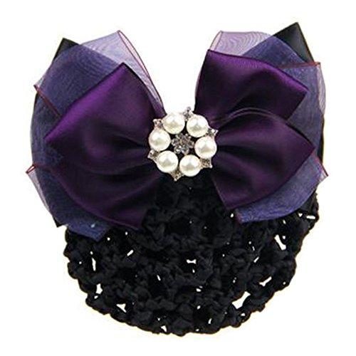 2 pièces bowtie maille élastique Bun couvre cheveux barrette poils cheveux pour dames,Violet