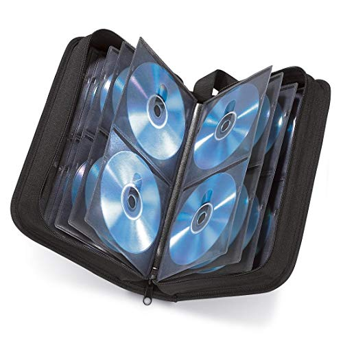 Hama CD Tasche für 104 Discs / CD / DVD / Blu-ray (Mappe zur Aufbewahrung , platzsparend für Auto & Zuhause, Transport-Hüllen) Schwarz