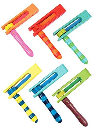 alles-meine.de GmbH 6 TLG. Se: Holzratsche / Schnarre aus Holz - Musikinstrument Instrument Kinder - Ratsche Krachmacher Krach & Musik - Kinderinstrument - für Mädchen Jungen