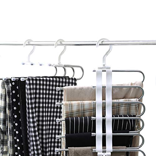 Pants Storage S-Type Space Saving Stainless Steel Clothes Pants Hangers Hang Slack,Jeans,Towels,Trouser Closet Storage 2 Pieces Closet Storage Organizer for Pants Jeans Scarf Hanging {Expires 8/8} [Coupon: 40CY729A] (40% off) - $ 10.1