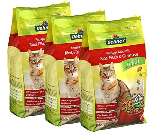Dehner Katzenfutter, Knusper-Mix Adult mit Rind, Fisch und Gemüse, 3 x 2 kg (6 kg)