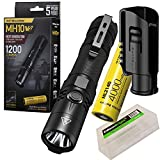 Nitecore MH10 v2 1200 Lumen USB-C Rechargeable LED Flashlight with 4000mAh Battery, Hard Holster with EdisonBright battery carrying case