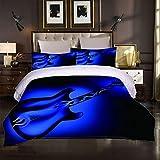 Teqoasiy Juego de funda de edredón 3D (260 x 230 cm), diseño de guitarra musical, color azul