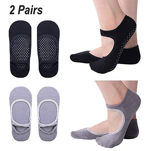 Hibbent 2 Pares Calcetines de Yoga Pilates Antideslizantes Mujer Utilizar para Barre, Yoga, Pilates, Fitness Calcetines Talla 35-41(Gris+Negro)