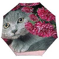 猫と赤の花雨伞 折りたたみ傘 自動開閉 軽量 大きい 8本骨 UVカット 耐風撥水 収納袋付き 日傘 携帯便利 晴雨兼用 紫外線対策 レディース 耐強風 メンズ