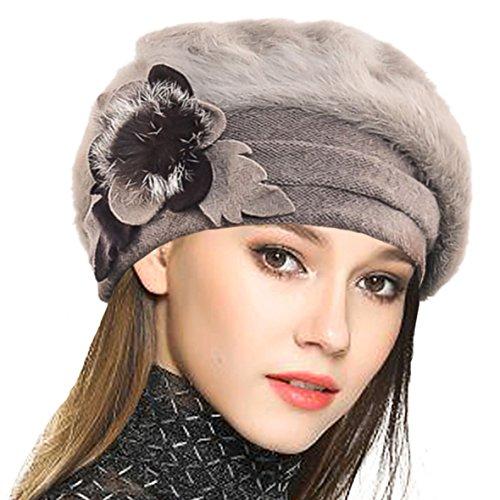 VECRY VECRY Damen Wolle Barette Angola Kleid Beanie Schädel Mützen Stricken Winter Hüte (Khaki)