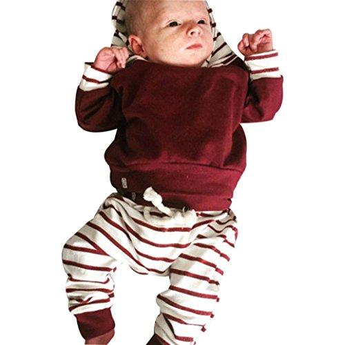 Mameluco bebé 2pcs Conjunto de Ropa Infantil de bebé niño niña Sudadera con Capucha Rayas Tops + Pantalones Trajes (Rojo, Tamaño:3Mes)