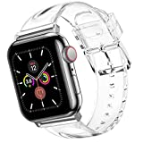 Wolait Compatible with Apple Watch Band 44mm 42mm, Premium Clear Glitter Soft Silicone Strap for iWatch Series 6 SE Series 5/4/3/2/1 Women Girls ,42mm/44mm Clear