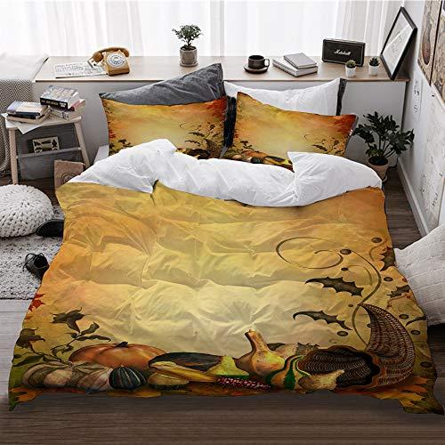 HATESAH Bedding Bettwäsche,Herbstlicher Hintergrund mit Zierblättern und Füllhorn,Bettwäsche 240x260cm,Kopfkissenbezug 2(50x80cm)