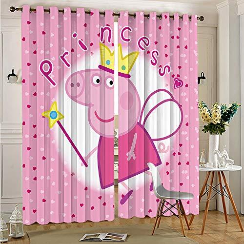 DONEECKL Verdunklungsvorhänge für Schlafzimmer rosa Schweinchen für Fenster Vorhänge Volants B 72 x L 63 cm Ösen oben Verdunkelungsvorhänge