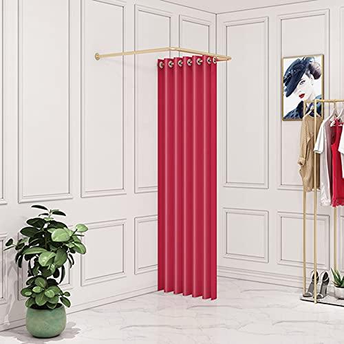 Pista Tipo U Vestuario Temporal Probador Pequeña Huella de Pie Kit de Cortinas de Opaca Protección de Privacidad para Tiendas de Ropa Oficina Sala (Color : Red, Size : 90x90cm)