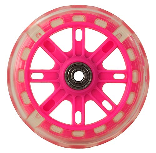 Airel 1 Rueda para Patinete | Ruedas Repuesto Patinete | Ruedas Scooter | Ruedas Patinete con Luces (magenta-rosa-120mm)