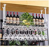 SMTAO 装飾品、クリエイティブゴブレットラック、ハンギングカップラック、ワイングラスラック、逆さまのホームスタイルのヨーロピアンバーテーブルワインラック,白い,50 * 25Cm