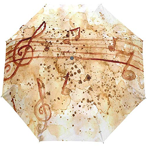 Jacque Dusk Regenschirm-Kompakter Regenschirm Aus Grunge Papier Kaffeeflecken Musiknoten Winddicht \U0026 Regenschirm Baldachin-Auto Offen Robustes Leichtgewicht Fürs Auto