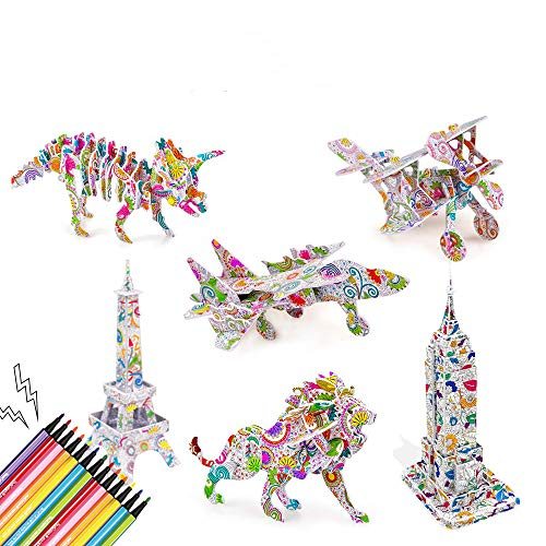 3D Colour Puzzle Set, Art Colouring Painting for Kids Aged 5-12, Creative Colouring DIY Crafts on Holiday, Christmas and Birthday Gift for Girls and Boys(set of 6)