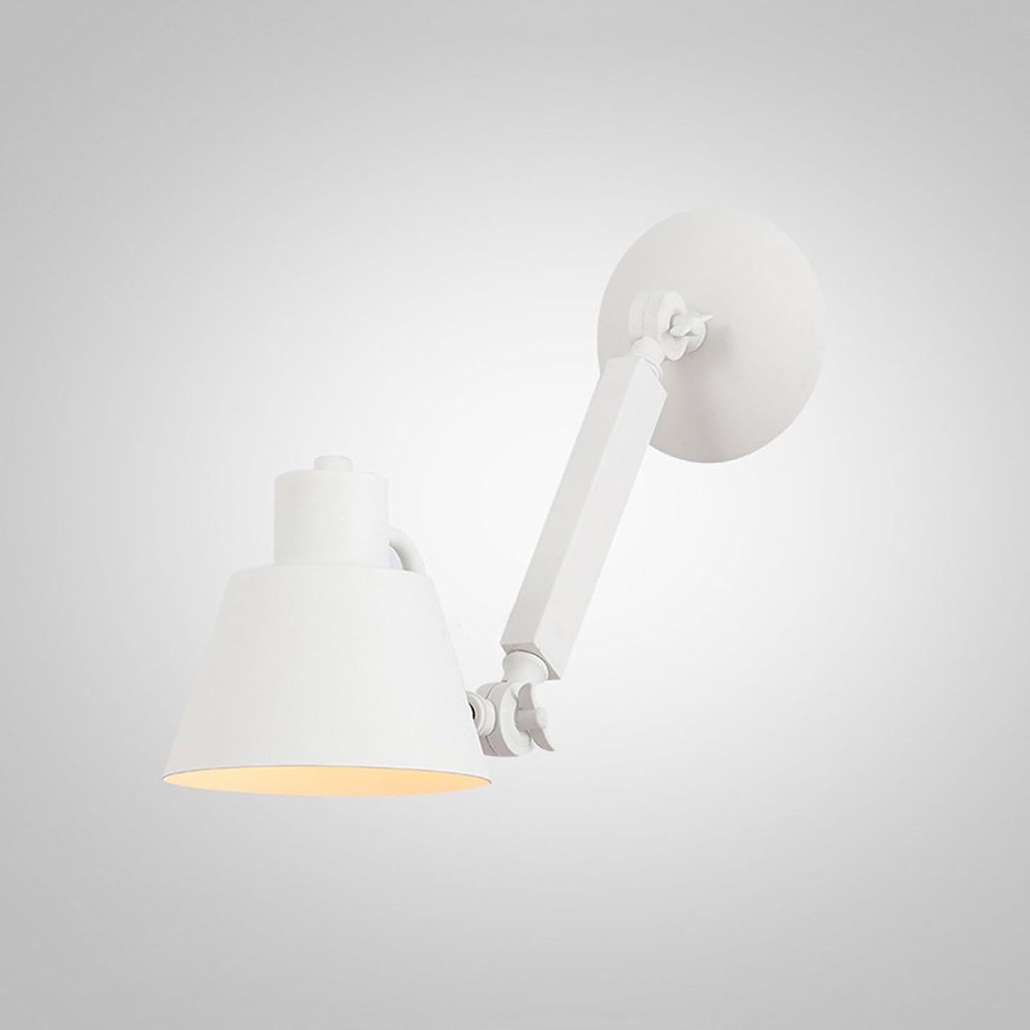 音節エーカーシーフードラオハオ 調整可能な錬鉄E27ウォールランプリビングルームダイニングルームカフェホールバルコニーウォールランプ寝室ベッドサイドランプブラックホワイト ウォールウォッシャー (Color : White)