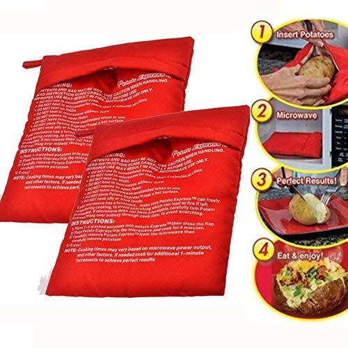 Surenhap 2 Pcs Sacs de Cuisson Micro-Ondes Sac De Pommes De Terre Sac De Cooker Cuit Au Four Lavable Pommes De Terre Riz Poche