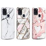 Funda para Samsung Galaxy A21S Mármol Silicone Suave Carcasa, Ultra Delgado Mate Case de IMD Marble Protección Antigolpes Anti-Rasguño y Resistente Huellas - Oro + Color Nude + Blanco