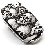 Schlüssel Hülle VA für 3 Tasten Auto Schlüssel Silikon Cover von Finest-Folia (Totenkopf)